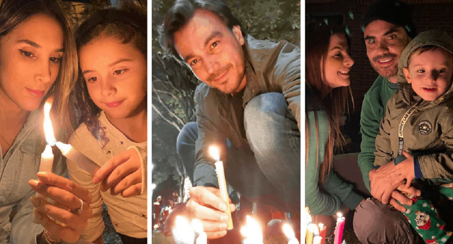 Daniela Ospina y su hiia, Salomé / Luciano D'Alessandro / Carolina Cruz, Lincoln Palomeque y su hijo, Matías