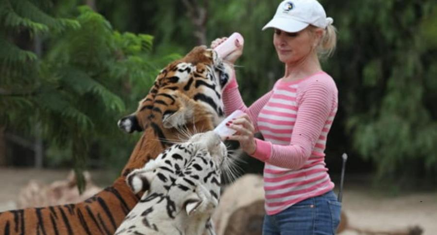 Mujer con dos tigres.