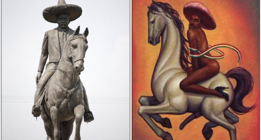 Emiliano Zapata: a la izquierda, una estatua; a la derecha, representado en la obra 'La Revolución'