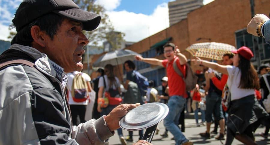 Cacerolazo del paro nacional en Bogotá