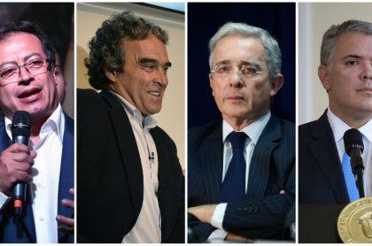 Gustavo Petro, Sergio Fajardo, Álvaro Uribe e Iván Duque