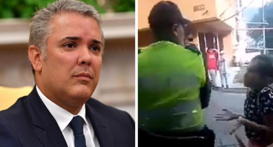 Iván Duque / Niña le reclama a policías en Medellín