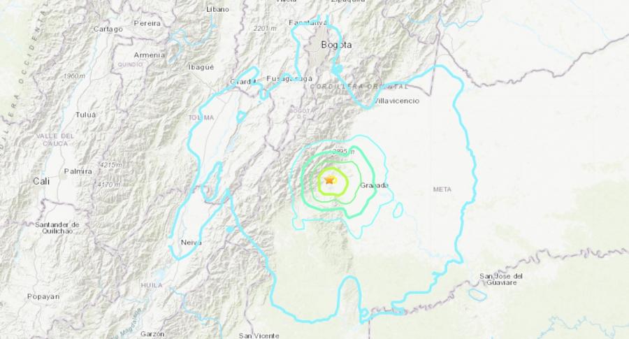 Mapa de réplicas de sismo en Colombia