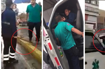 Pelea entre conductores de ambulancia en Bucaramanga