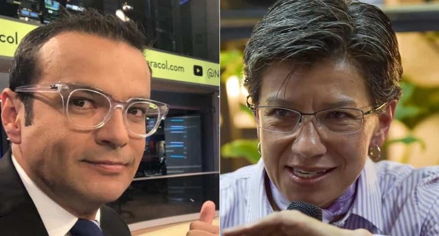 Juan Diego Alvira, presentador, y Claudia López, alcaldesa de Bogotá.