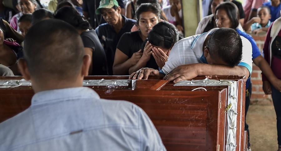 Funeral de líder social en Caloto, Cauca.