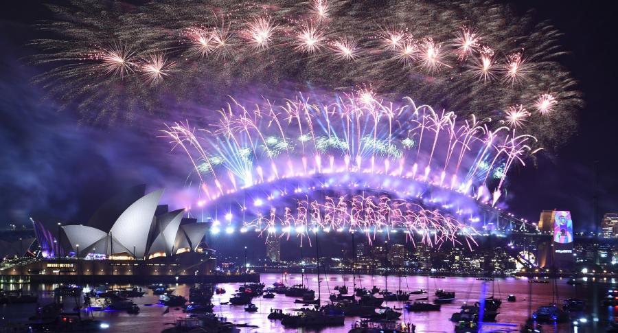 Show pirotécnico de Año Nuevo en Sídney