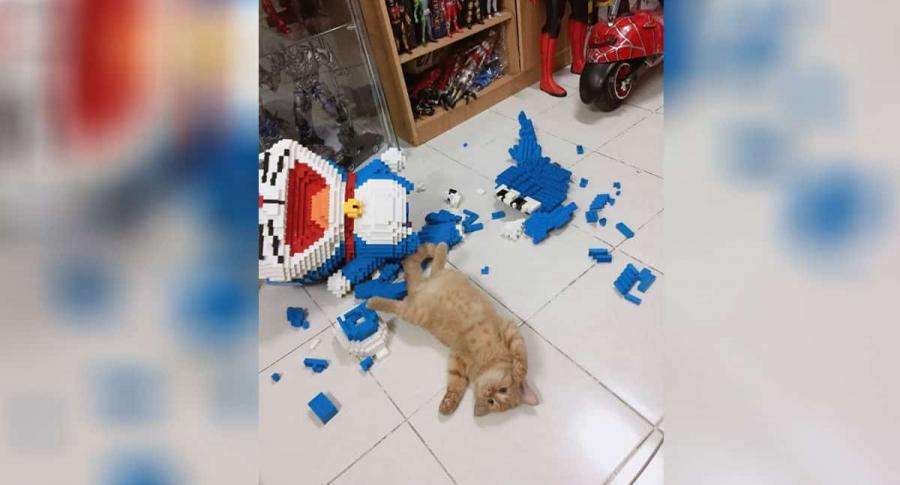 Gato destruye figura de lego.