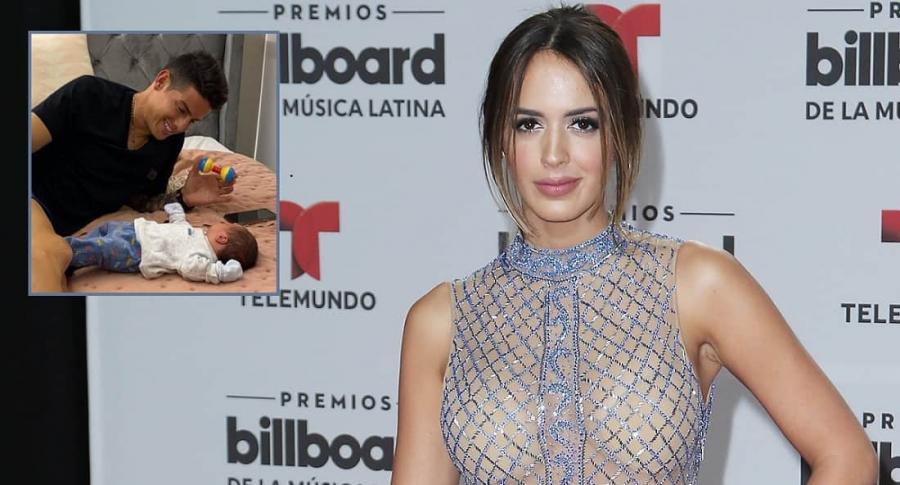 Shannon de Lima,  modelo, y James Rodríguez, futbolista, con su hijo Samuel.