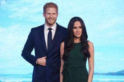 Figuras de cera del príncipe Harry y Meghan Markle en el Madame Tussauds de Londres.