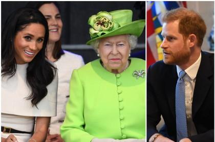 Meghan Markle y la reina Isabel II / Príncipe Harry