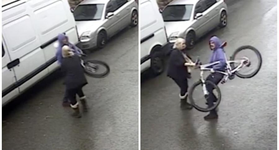 Abuela enfrenta a ladrón.