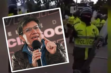 Claudia López y policía