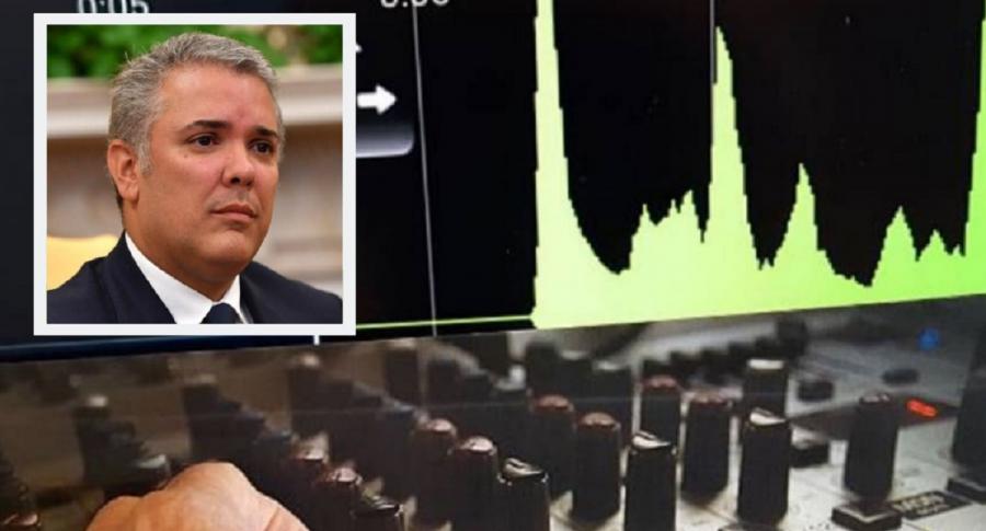 Collage: imagen de referencia sobre chuzadas / foto de Iván Duque