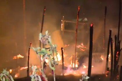 Incendio en la localidad de Santa Fe, de Bogotá
