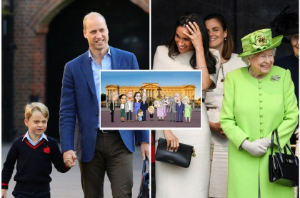 Príncipe George, prínncipe William / Meghan Markle y la reina Isabel II