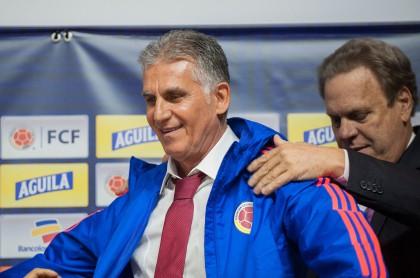Ramón Jesurún, presidente de la Federación Colombiana de Fútbol, y Carlos Queiroz, técnico de la Selección Colombia.