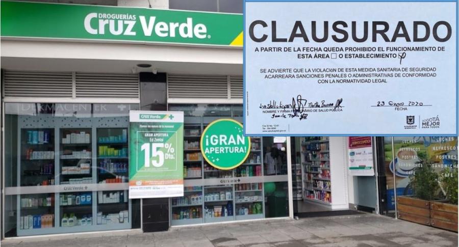 Droguería de Cruz Verde clausurada