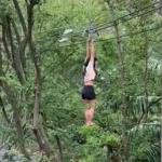 Mujer cae de un cable