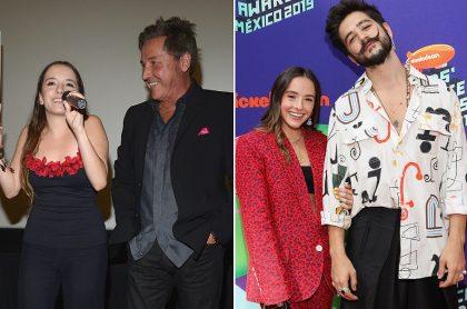 Evaluna Montaner, cantante y actriz, con su papá, el cantante Ricardo Montaner, y su novio, el artista Camilo Echeverry.
