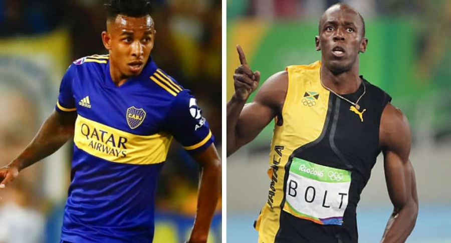 Sebastián Villa y Usain Bolt