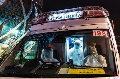 Ambulancia en Wuhan China