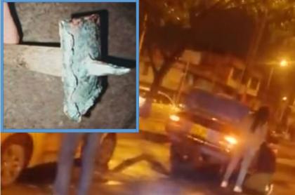 Chuzos encontrados en avenida 68 y carros pinchados