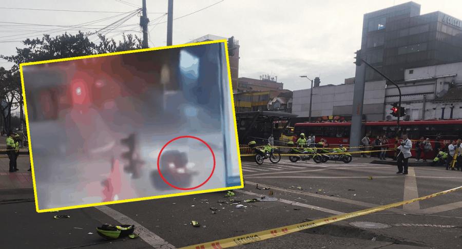 Accidente en el que murió policía en Bogotá