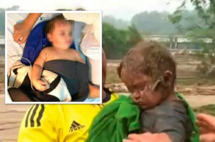 Bebé rescatado en Piedecuesta, Santander.