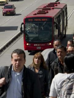 Transmilenio en Bogotá.