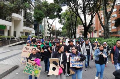 Protesta de recicladores en Bogotá