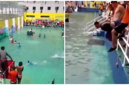 Presos hacen piscina improvisada.