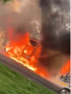 Bus incendiado en Bogotá