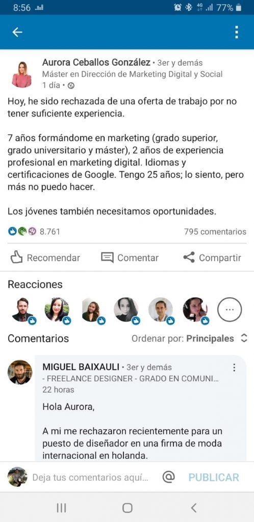Captura de pantalla LinkedIn Aura Ceballos