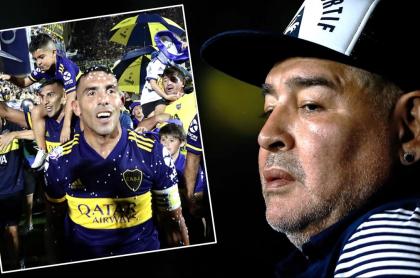 Carlos Tévez y Diego Maradona