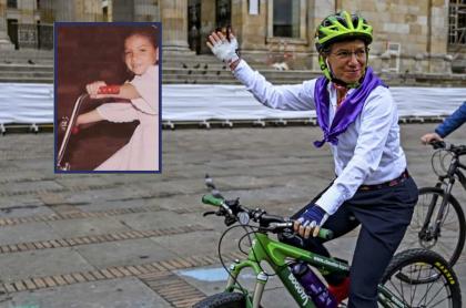 Claudia López montando bicicleta siendo alcaldesa de Bogotá y en su niñez.