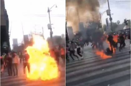Bomba molotov cae sobre mujer en México (Día de la Mujer)