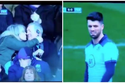 Deportista reacciona a beso de sus papás.