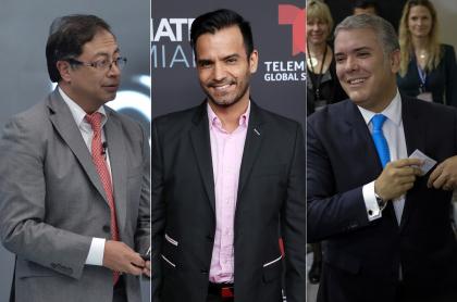Gustavo Petro, senador; Jorge Cárdenas, actor; e Iván Duque, presidente de Colombia.