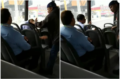 Hombre golpea a acosador en un bus.
