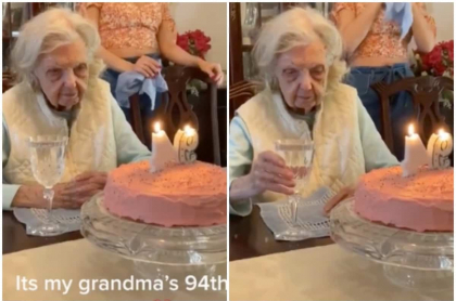 Anciana celebra su cumpleaños 94.