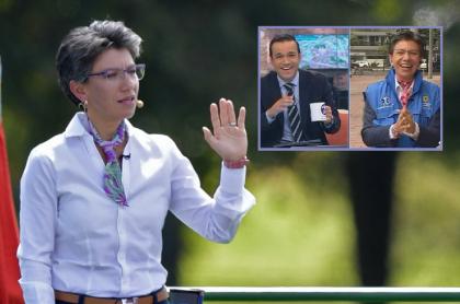 Claudia López, alcaldesa, y Juan Diego Alvira, presentador.
