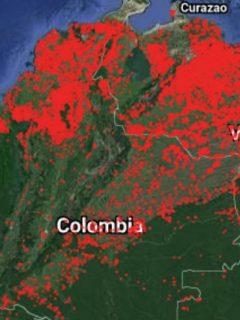 Mapa de puntos calientes en la región