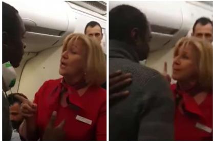 Hombre y azafata pelean en un avión.