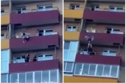 Joven salta desde un edificio.
