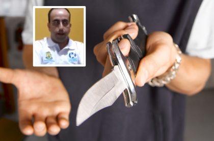Hombre con cuchillo y Yecid Rincón