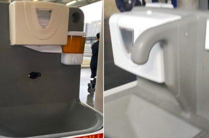 Lavamanos portátiles instalados en Transmilenio