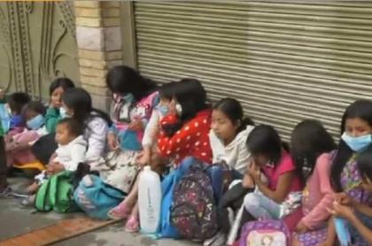 Familias indígenas desalojadas en Bogotá