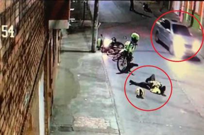 Policía herido por delincuente y conductor que no lo auxilió.