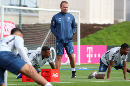 Jugadores del Bayern Múnich en entrenamiento